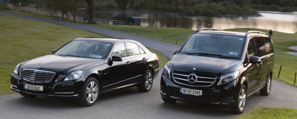 Atlantic Way Chauffeur Services Mercedes Car and Van pictured by the lake at Dromoland Castle